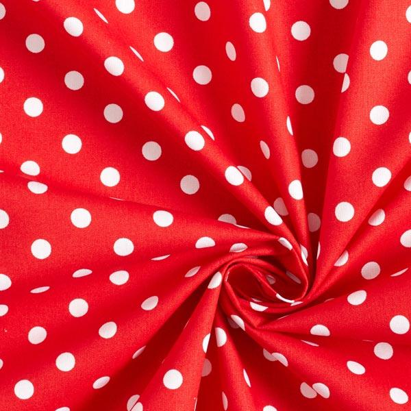 Popeline coton Grands pois – rouge/blanc