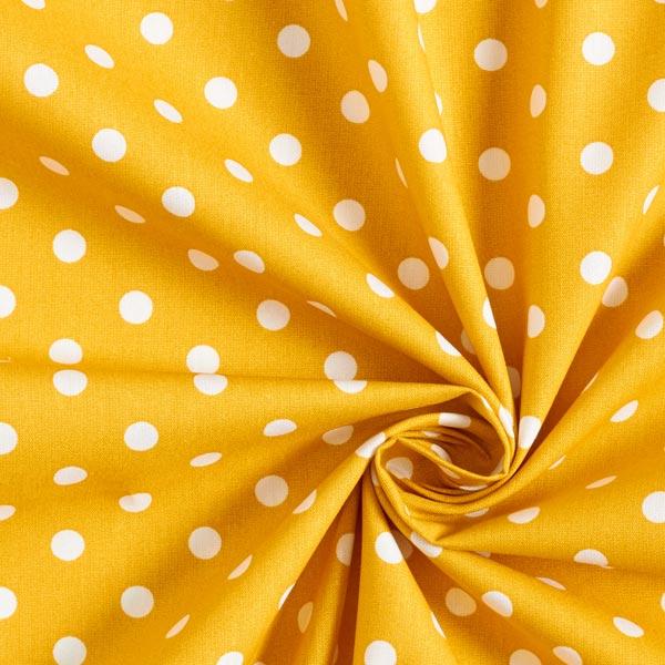 Baumwollpopeline große Punkte – senf/weiss