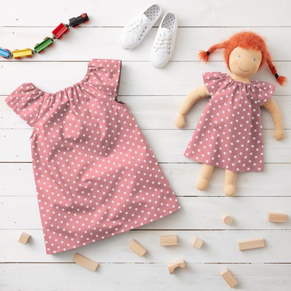 Baumwollpopeline große Punkte – rosa/weiss