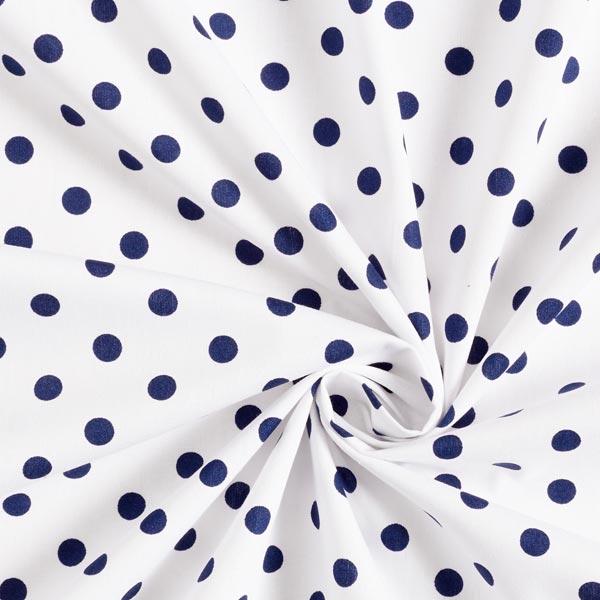 Baumwollpopeline große Punkte – weiss/marineblau