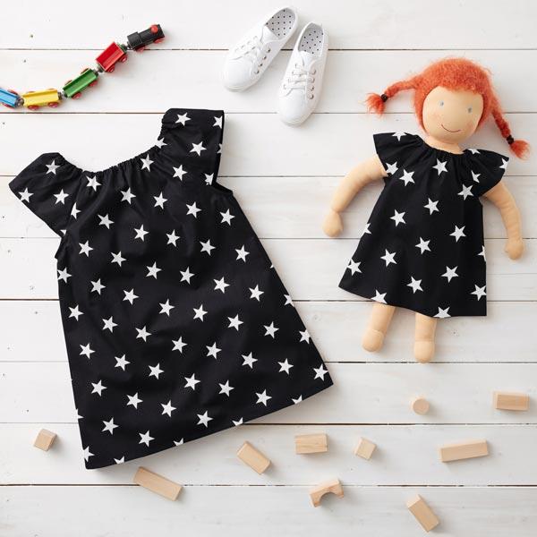 Popeline coton Grandes étoiles – noir/blanc