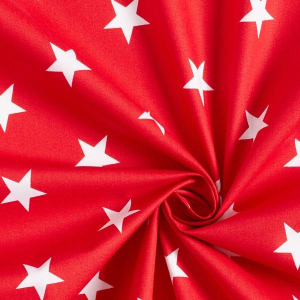 Popeline coton Grandes étoiles – rouge/blanc