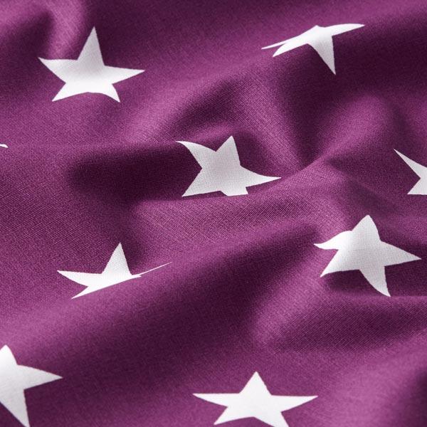 Popeline coton Grandes étoiles – lilas rouge/blanc