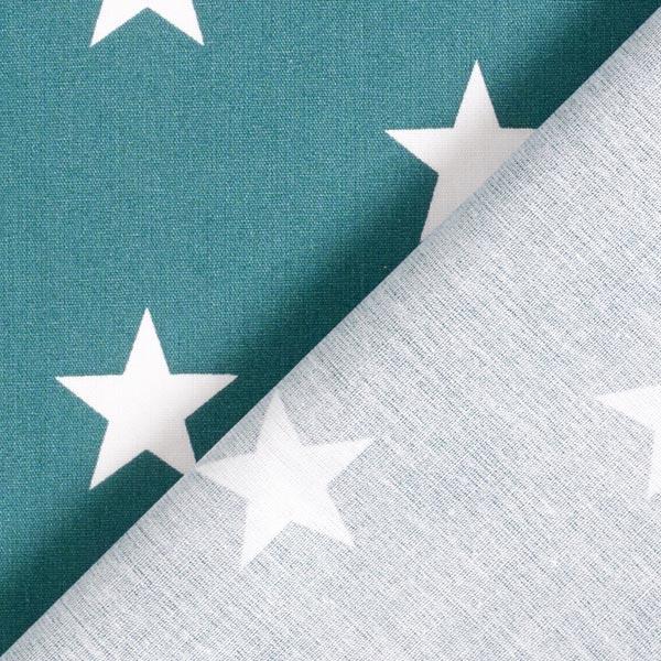 Popeline coton Grandes étoiles – pétrole/blanc