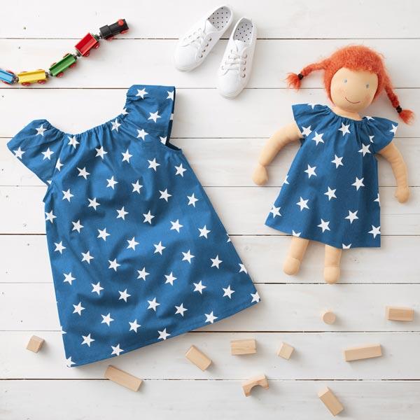 Popeline coton Grandes étoiles – bleu jean/blanc