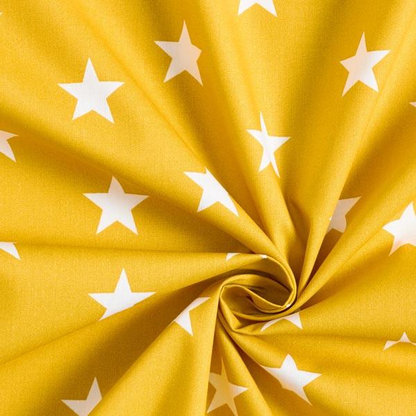Popeline coton Grandes étoiles – moutarde/blanc