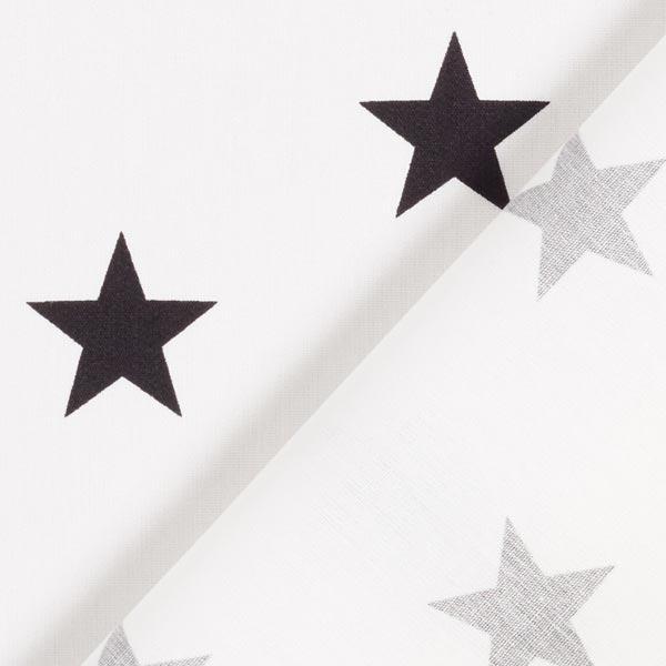 Popeline coton Grandes étoiles – blanc/noir