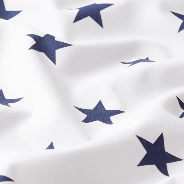 Popeline coton Grandes étoiles – blanc/bleu marine