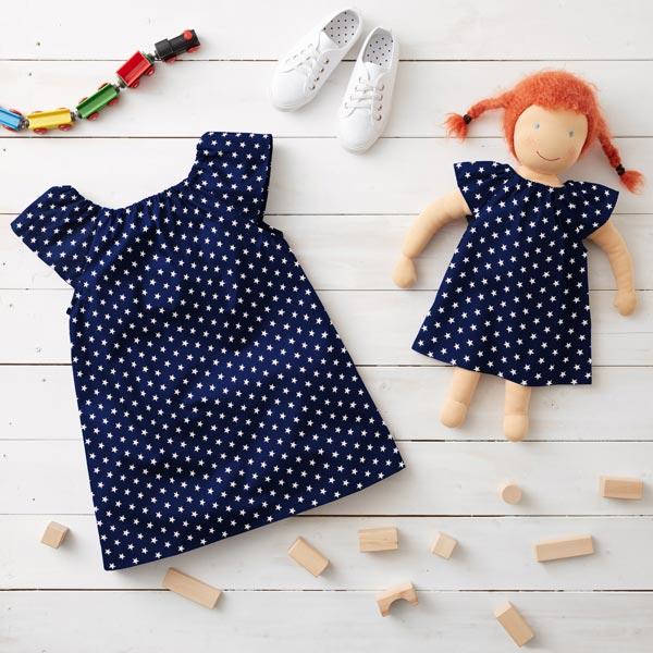 Popeline coton Moyens étoiles – bleu marine/blanc