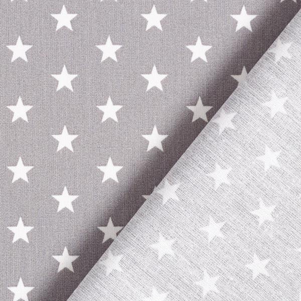 Popeline coton Moyens étoiles – gris/blanc