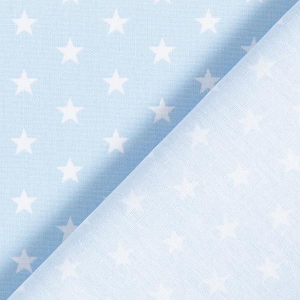 Popeline coton Moyens étoiles – bleu clair/blanc