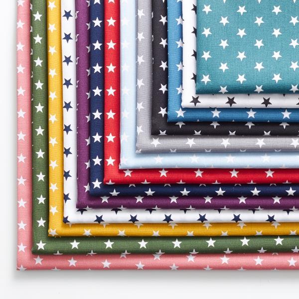 Popeline coton Moyens étoiles – pétrole/blanc