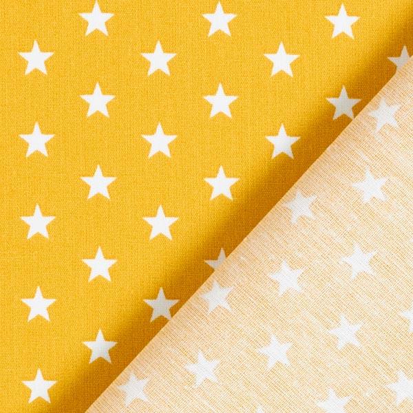 Popeline coton Moyens étoiles – moutarde/blanc