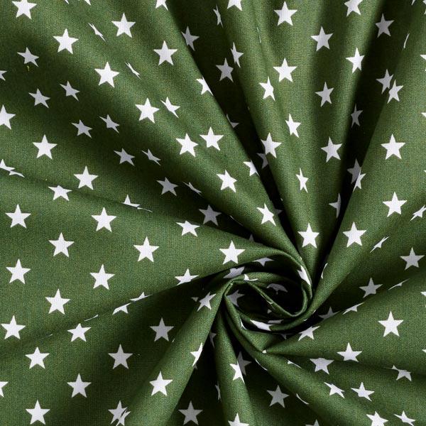 Popeline coton Moyens étoiles – vert foncé/blanc