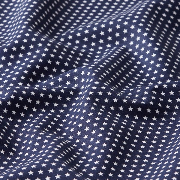 Popeline coton Petites étoiles – bleu marine/blanc
