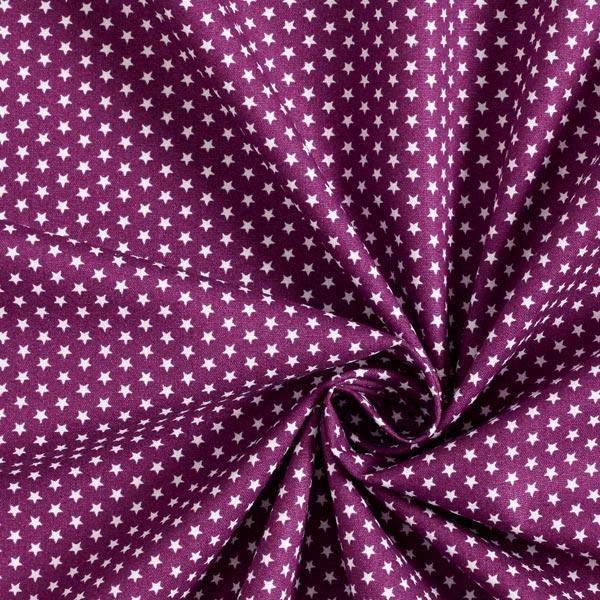 Popeline coton Petites étoiles – lilas rouge/blanc