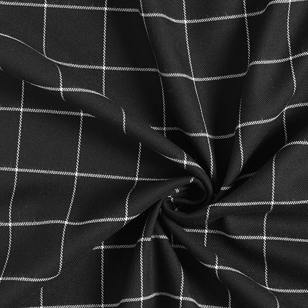Mélange viscose stretch carreaux – noir/blanc