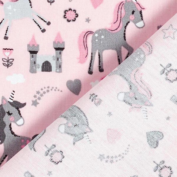Popeline coton Monde de la licorne – rose/gris