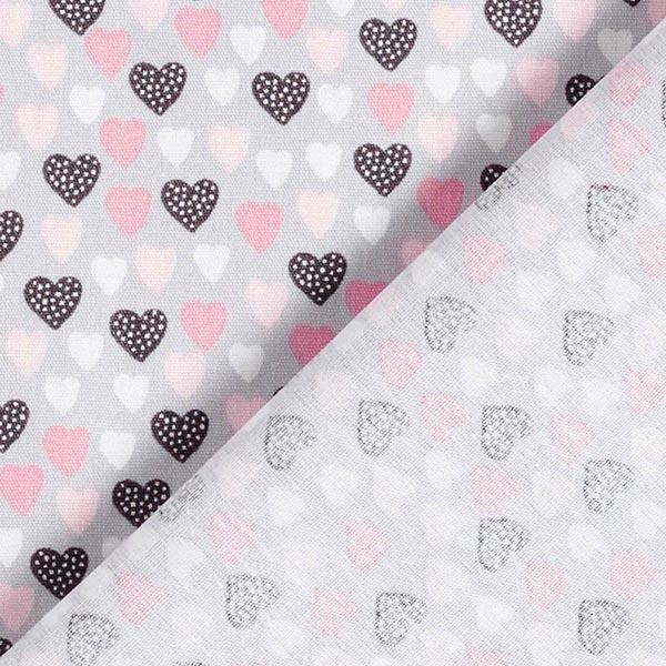 Baumwollpopeline süße Herzchen – hellgrau/rosa