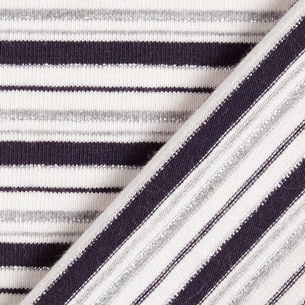 Jersey coton Rayures Lurex – bleu marine/argent
