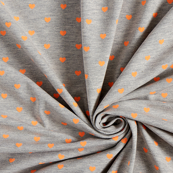Jersey coton FLUO Cœurs – orange néon