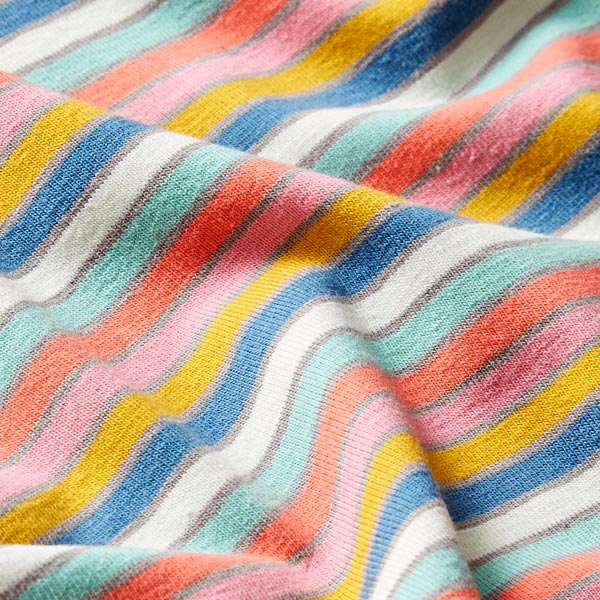 Jersey coton Rayures fines multicolores