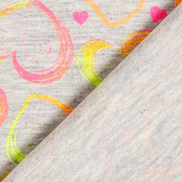 Jersey coton | by Poppy Cœurs fluo – gris clair