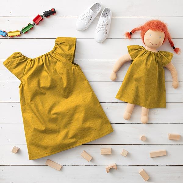 Tissu double gaze de coton Imprimé feuille Rectangle   by Poppy – moutarde