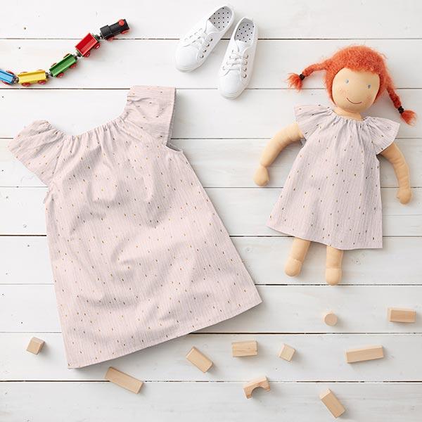 Tissu double gaze de coton Imprimé feuille Rectangle   by Poppy – rosé
