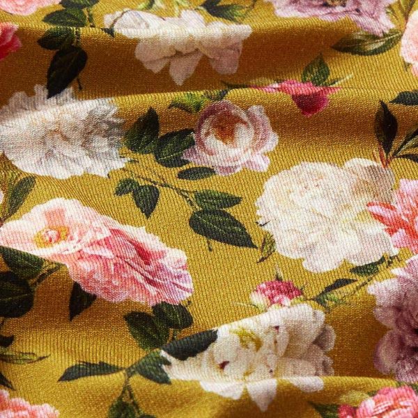 Jersey viscose Impression florale – curry