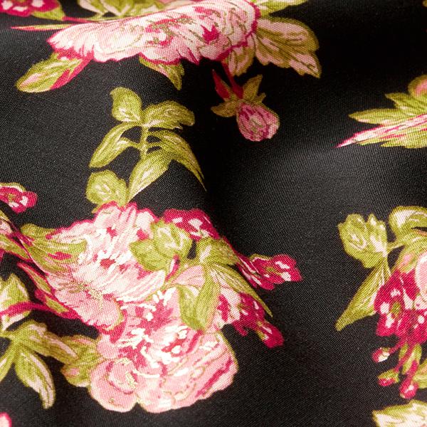 Tissu pour chemisier Roses avec touches dorées – noir/rose clair