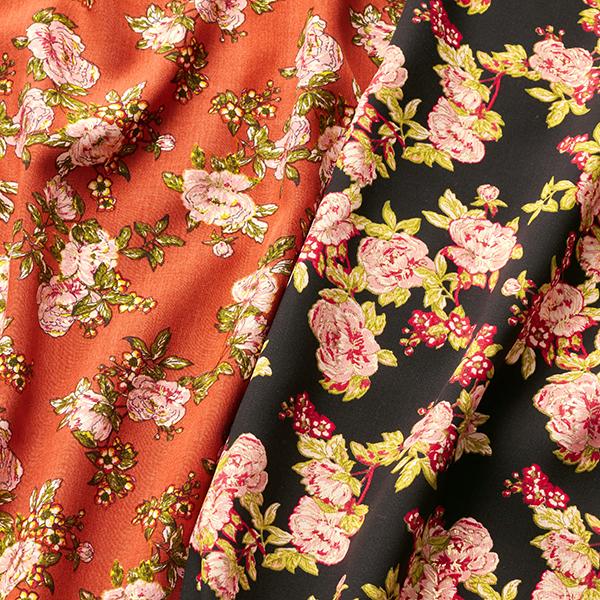 Tissu pour chemisier Roses avec touches dorées – terre cuite/rose clair