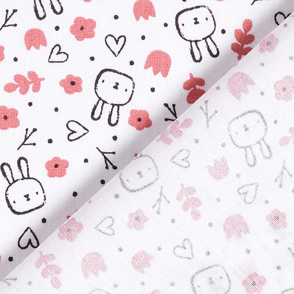 Popeline coton  Petit lapin   by Poppy – blanc