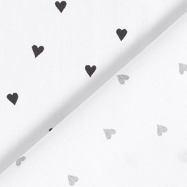 Tissus en coton Popeline  Cœurs | by Poppy – blanc/noir