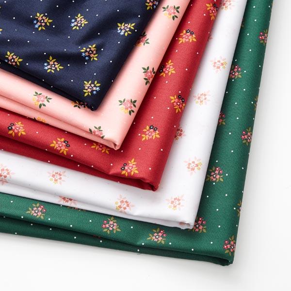 Tissu en coton popeline petits bouquets de fleurs costumes traditionnels – bleu marine