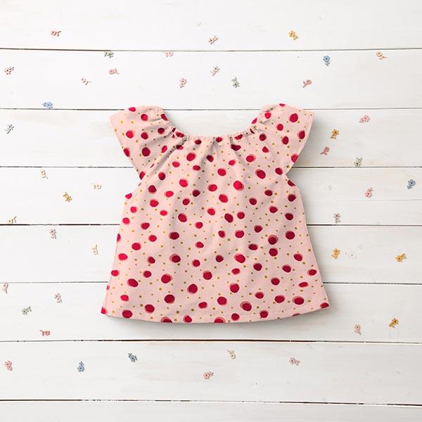 Jersey coton GOTS Points multicolores – rose/rouge clair