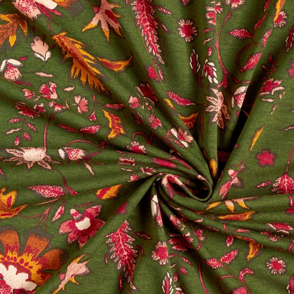 Jersey viscose feuilles d'automne – olive foncé