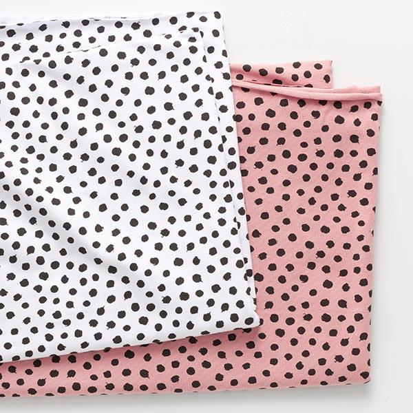 Jersey coton griffonnage Points GOTS – blanc/noir
