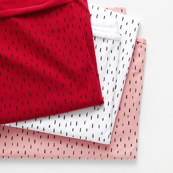 Jersey coton griffonnage Traits GOTS – blanc/noir