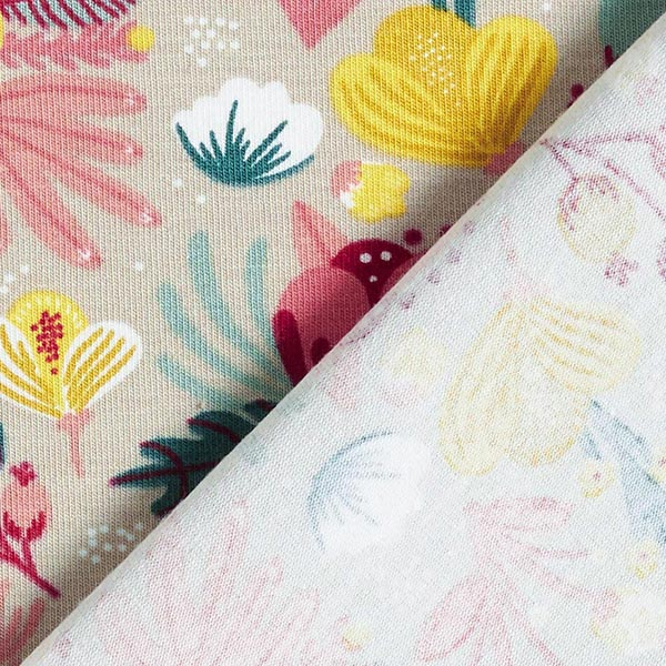 Jersey coton bio Fleurs GOTS| by Poppy – sable