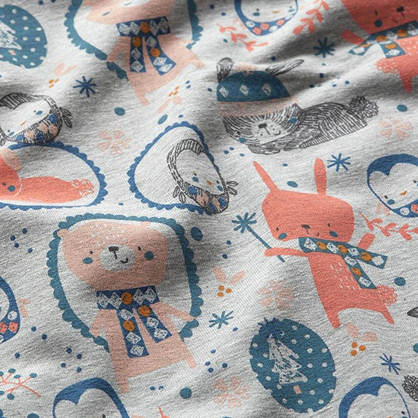 French Terry animaux d'hiver – gris clair