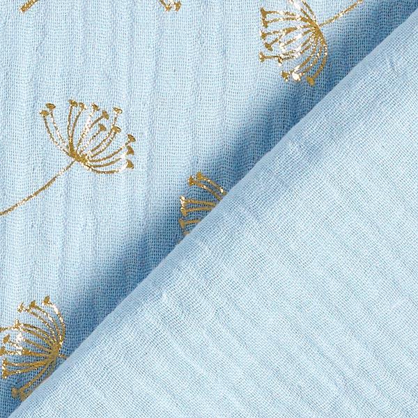 Mousseline de coton Imprimé feuille Pissenlit | by Poppy – bleu bébé
