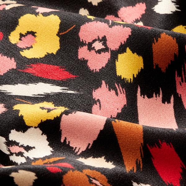 Tissu pour chemisier Satin Moucheté de fleurs – noir