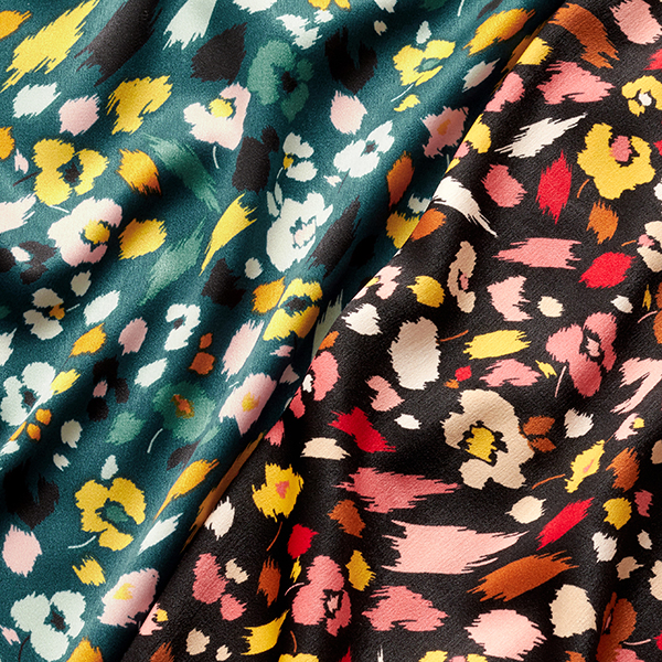 Tissu pour chemisier Satin Moucheté de fleurs – pétrole