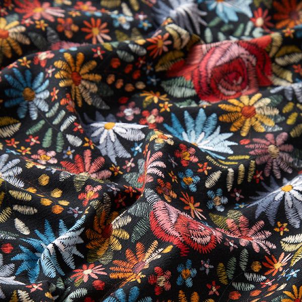 Jersey coton Aspect fleurs brodées | by Poppy – noir