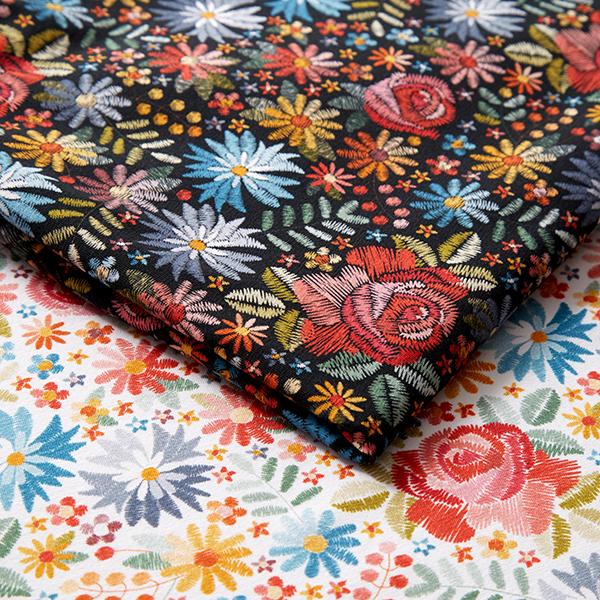Jersey coton Aspect fleurs brodées | by Poppy – blanc