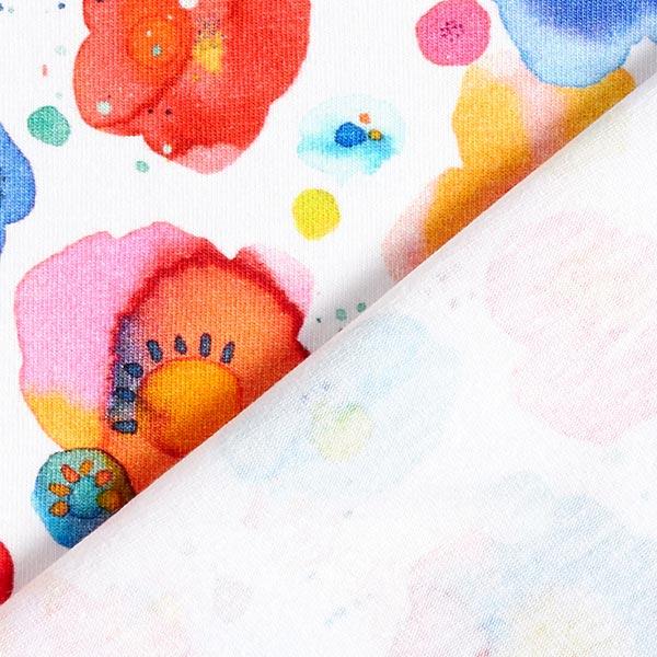 Jersey coton Fleurs aquarelle | by Poppy – blanc/mélange de couleurs