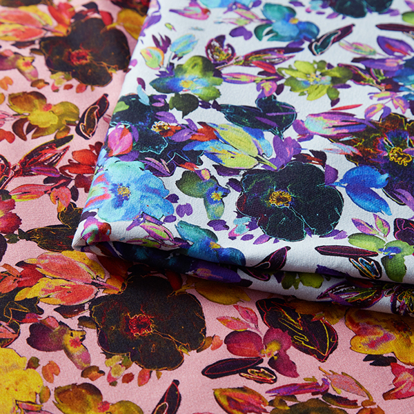 Jersey coton Splendeur des fleurs | by Poppy – bleu clair