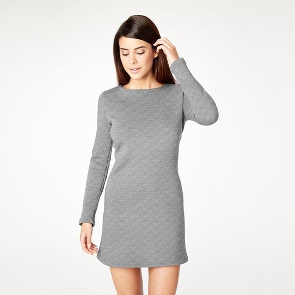 Jersey cloqué côte transversale chiné – gris clair