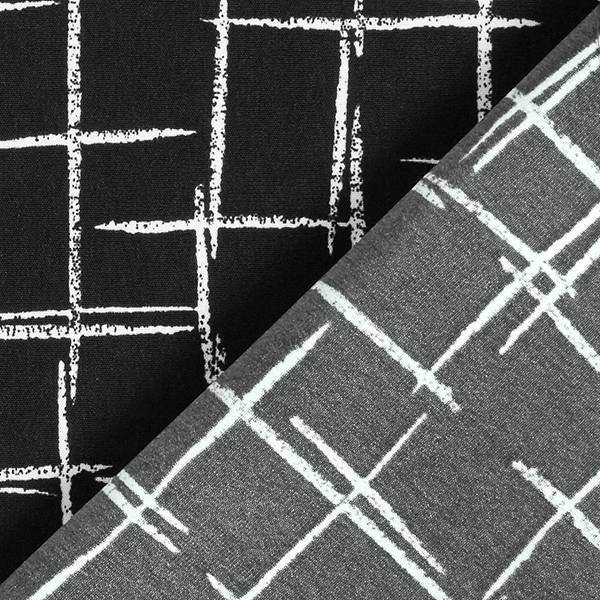 Tissu pour chemisier Traits de craie – noir/blanc